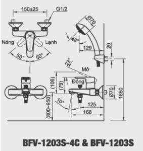 Vòi sen tắm Inax BFV-1203S chính hãng